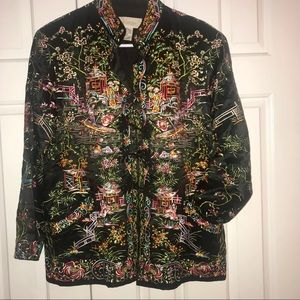 Chico's Asian Inspired 70% Silk Jacket